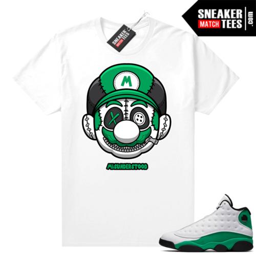 Match Lucky Green 13s Jordan Match Tees Shirt White Misunderstood Mario