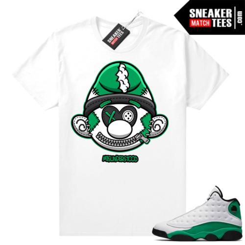 Match Lucky Green 13s Jordan Match Tees Shirt White Misunderstood Smurf