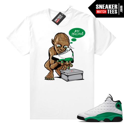 Match Lucky Green 13s Jordan Match Tees Shirt White My Precious
