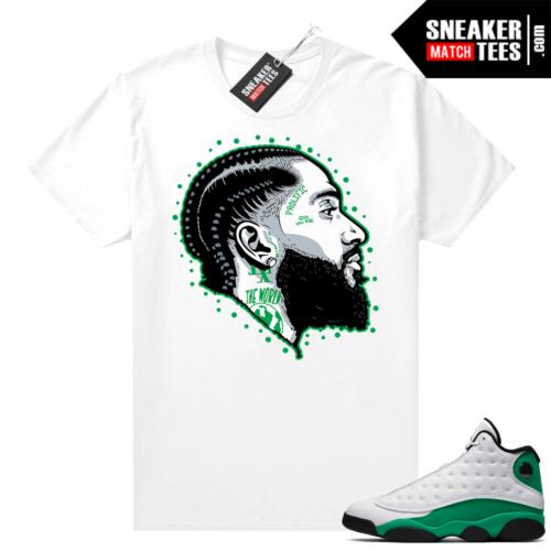 Match Lucky Green 13s Jordan Match Tees Shirt White Prolific