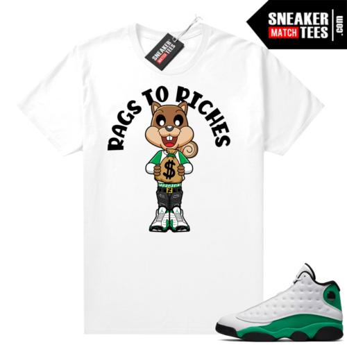 Match Lucky Green 13s Jordan Match Tees Shirt White Rags to Riches