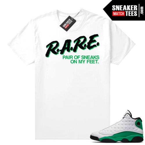 Match Lucky Green 13s Jordan Match Tees Shirt White Rare Pair