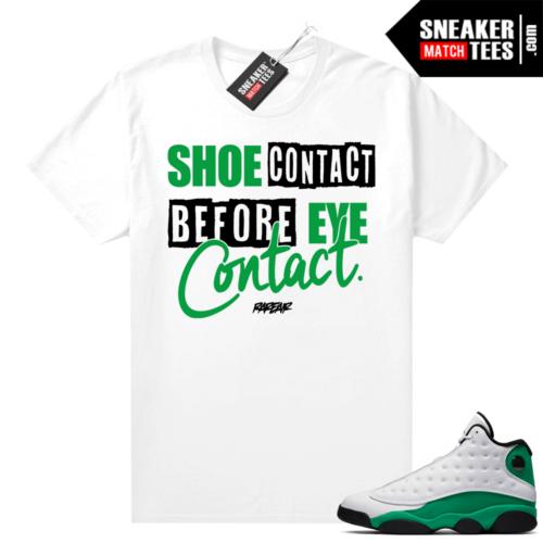 Match Lucky Green 13s Jordan Match Tees Shirt White Shoe Contact