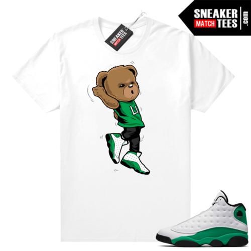 Match Lucky Green 13s Jordan Match Tees Shirt White Shootin Bear