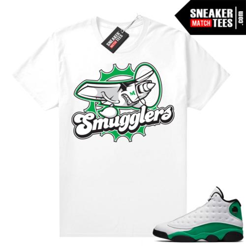 Match Lucky Green 13s Jordan Match Tees Shirt White Smugglers