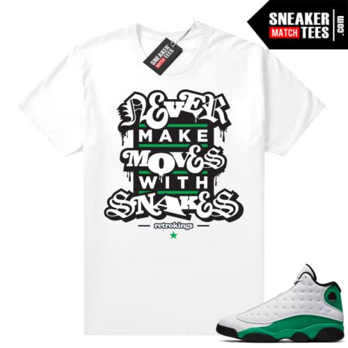 Match Lucky Green 13s Jordan Match Tees Shirt White Snakes