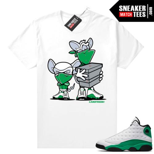 Match Lucky Green 13s Jordan Match Tees Shirt White Sneaker Heist