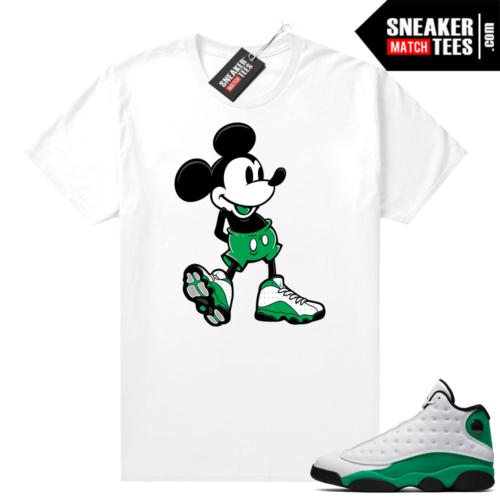 Match Lucky Green 13s Jordan Match Tees Shirt White Sneakerhead Mickey
