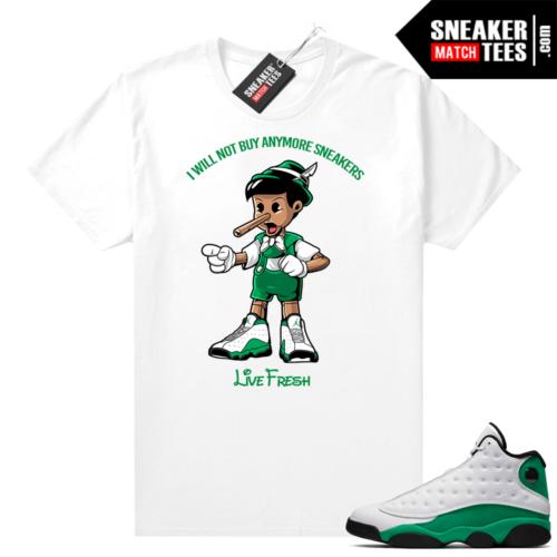 Match Lucky Green 13s Jordan Match Tees Shirt White Sneakerhead Pinocchio
