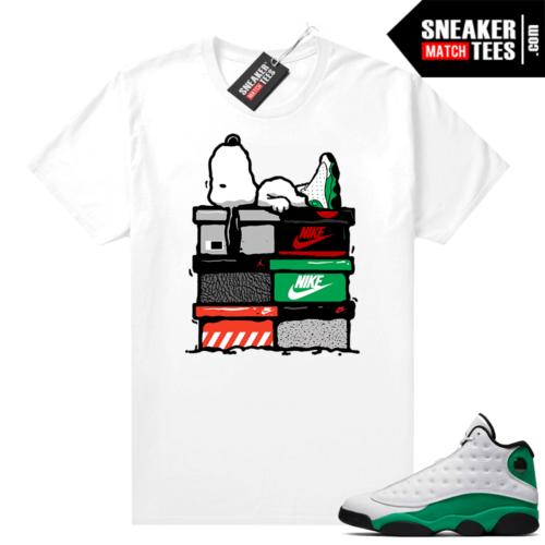 Match Lucky Green 13s Jordan Match Tees Shirt White Sneakerhead Snoopy