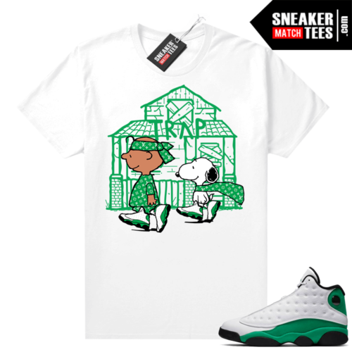 Match Lucky Green 13s Jordan Match Tees Shirt White Snoopy Trap House