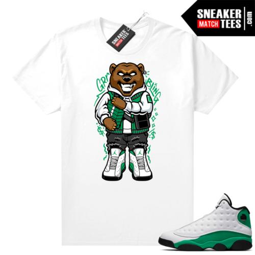 Match Lucky Green 13s Jordan Match Tees Shirt White Stackin Grizzly