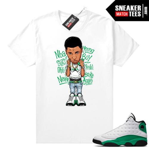Match Lucky Green 13s Jordan Match Tees Shirt White Youngboy NBA Toon