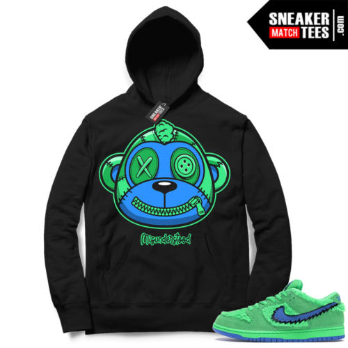 Misunderstood Monkey ™ Grateful Dead Dunks Green Bear Black Hoodie