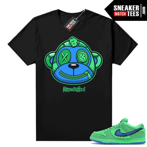 Misunderstood Monkey ™ Grateful Dead Dunks Green Bear Black Shirt