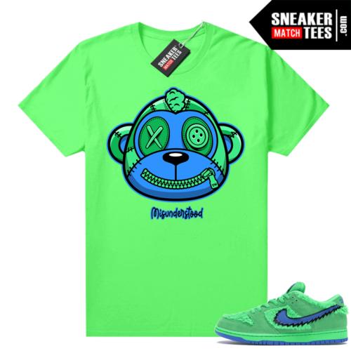 Misunderstood Monkey ™ Grateful Dead Dunks Green Bear Neon Green Shirt