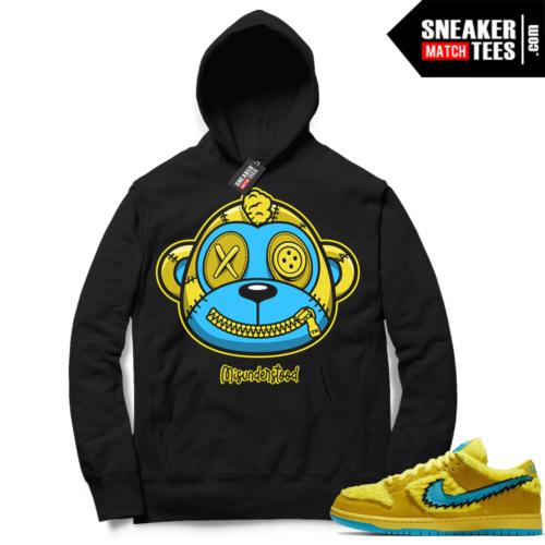 Misunderstood Monkey ™ Grateful Dead Dunks Yellow Bear Black Hoodie