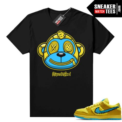 Misunderstood Monkey ™ Grateful Dead Dunks Yellow Bear Black tee