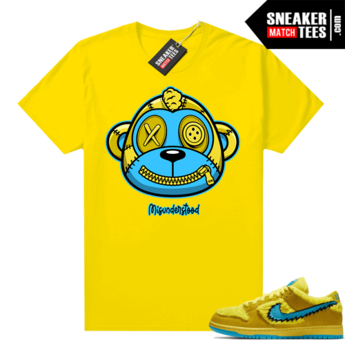 Misunderstood Monkey ™ Grateful Dead Dunks Yellow Bear Yellow tee
