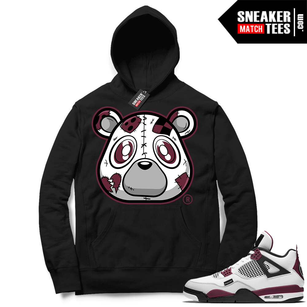 PSG 4s Sneaker Match Hoodie Heartless Bear Black