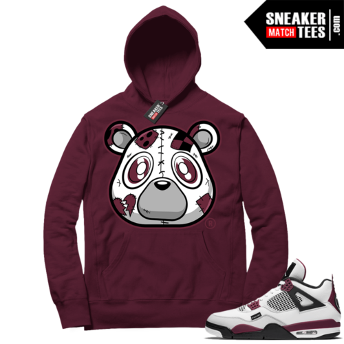PSG 4s Sneaker Match Hoodie Heartless Bear Maroon