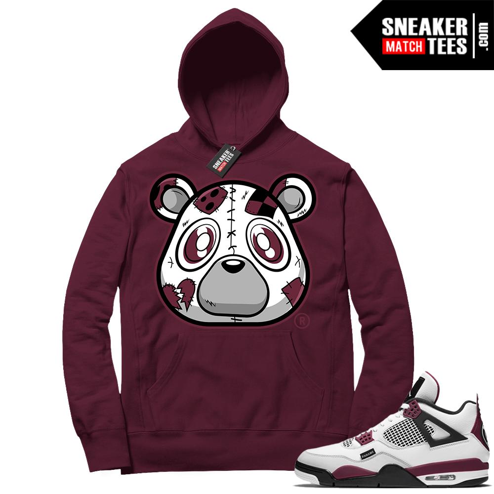 PSG 4s Sneaker Match Hoodie Heartless Bear Maroon