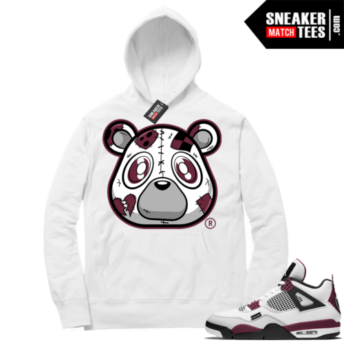 PSG 4s Sneaker Match Hoodie Heartless Bear White