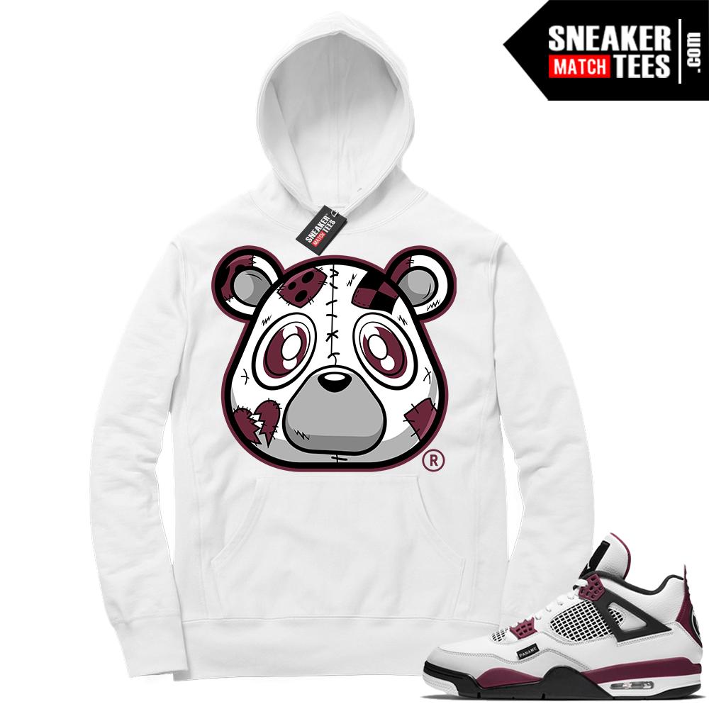 PSG 4s Sneaker Match Hoodie Heartless Bear White