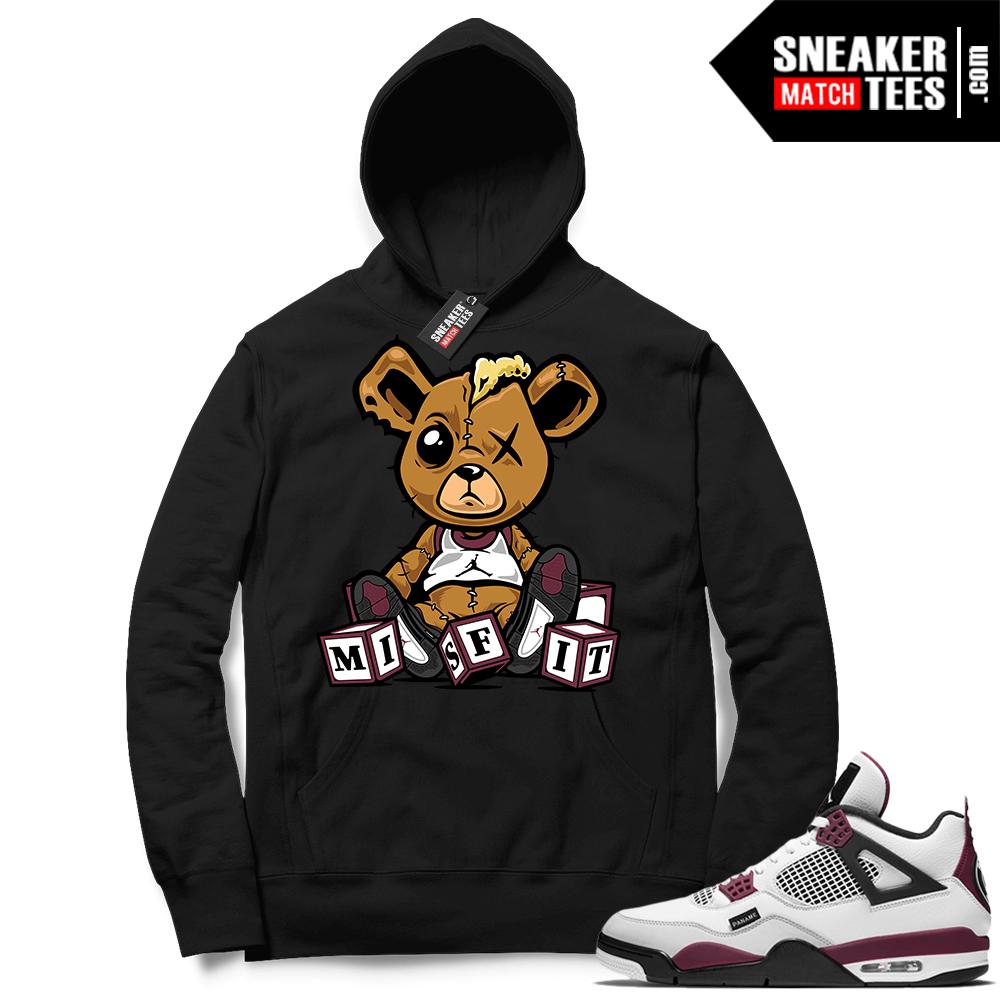PSG 4s Sneaker Match Hoodie Misfit Teddy Black