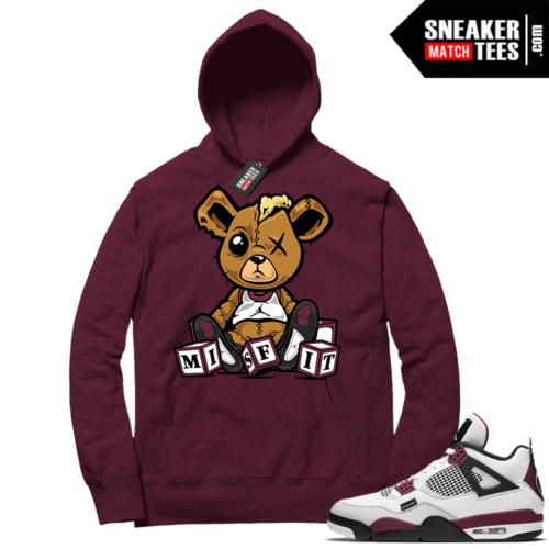 PSG 4s Sneaker Match Hoodie Misfit Teddy Maroon