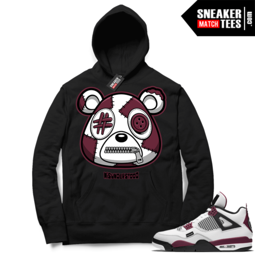 PSG 4s Sneaker Match Hoodie Misunderstood Bear Black