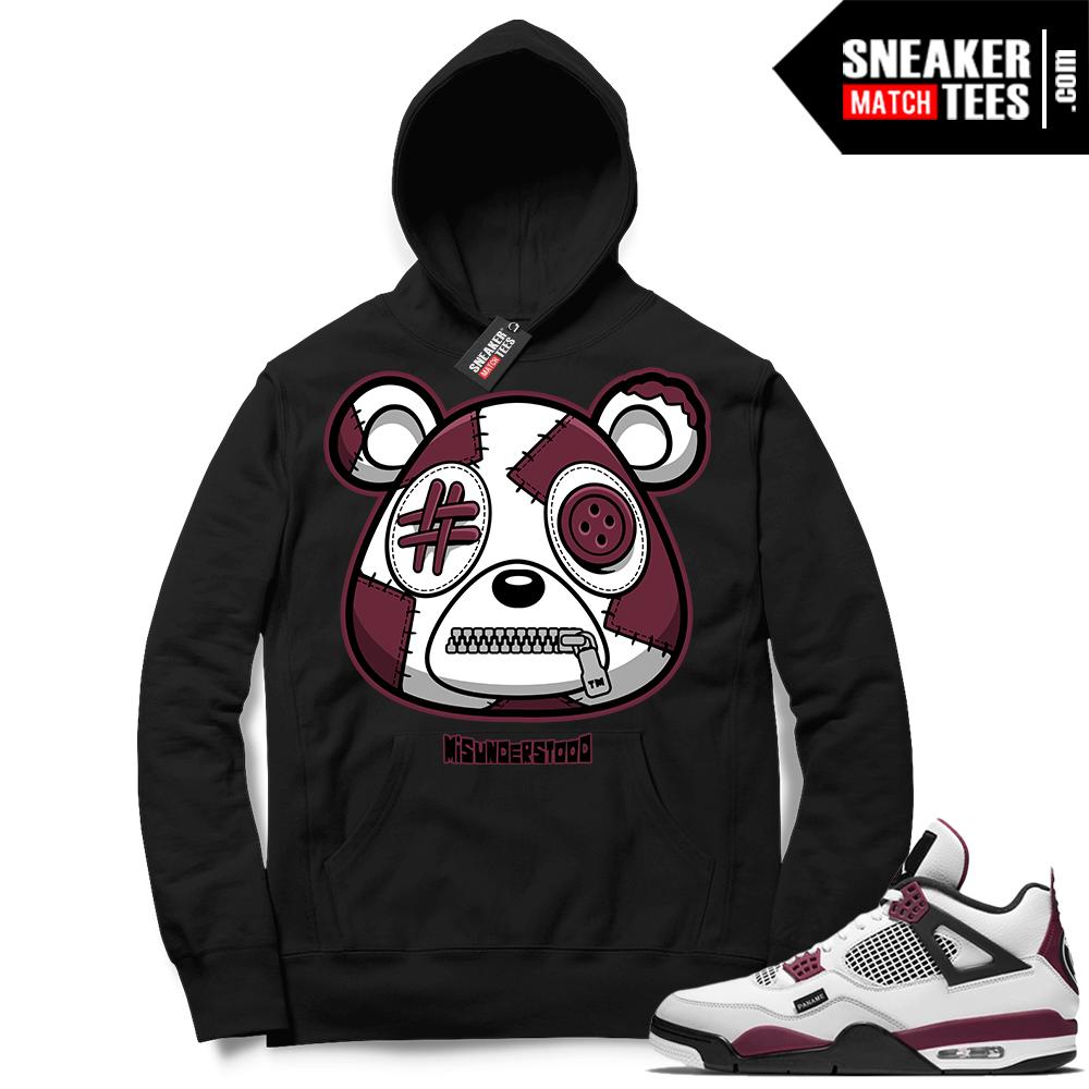 PSG 4s Sneaker Match Hoodie Misunderstood Bear Black