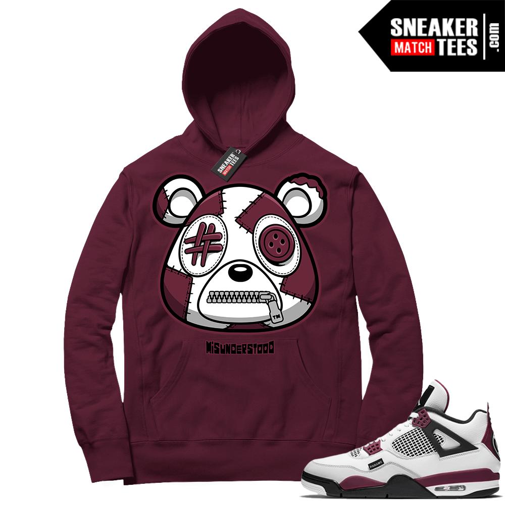 PSG 4s Sneaker Match Hoodie Misunderstood Bear Maroon