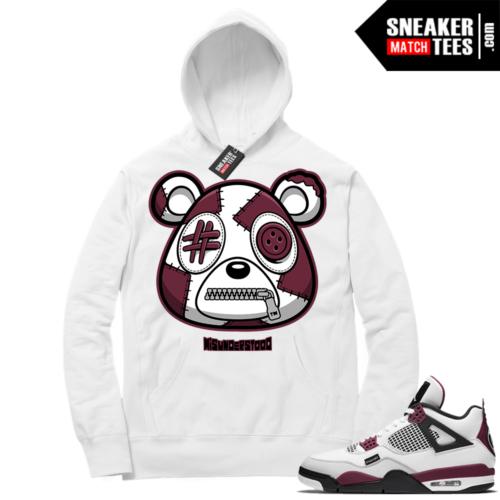 PSG 4s Sneaker Match Hoodie Misunderstood Bear White