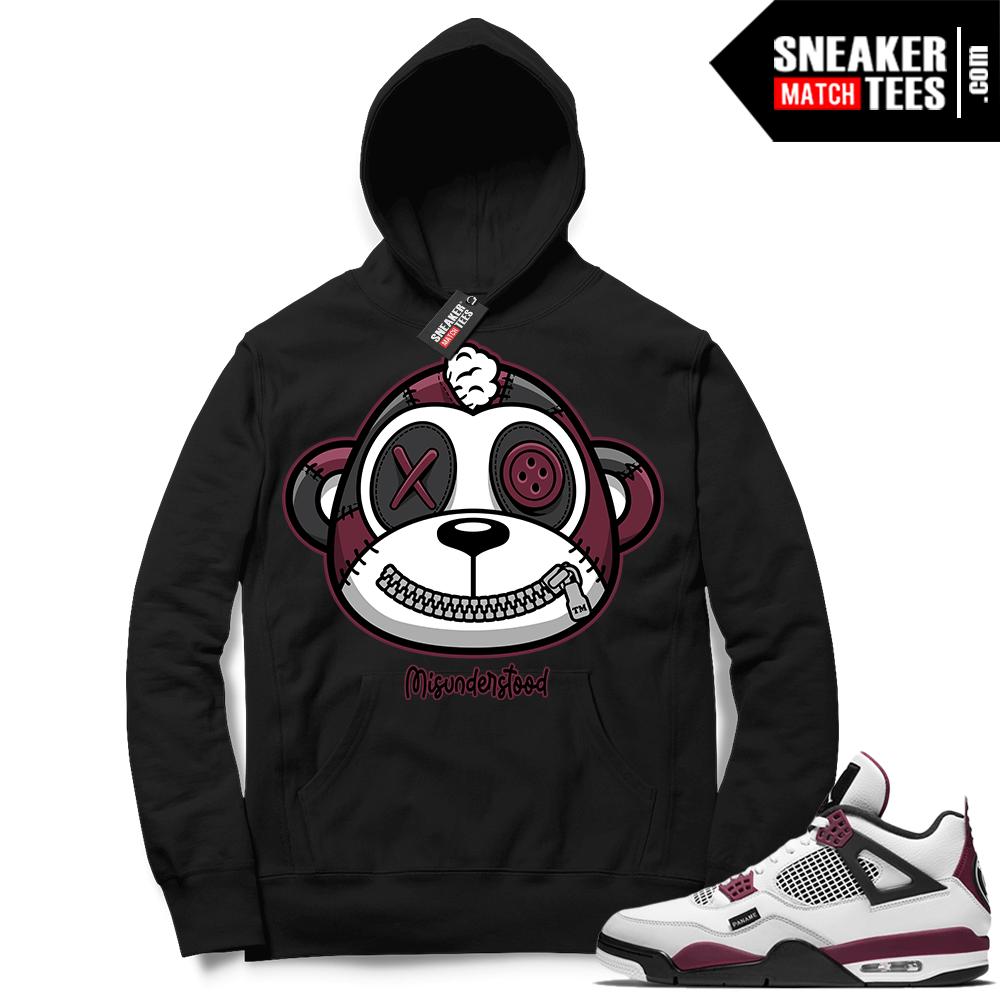 PSG 4s Sneaker Match Hoodie Misunderstood Monkey Black