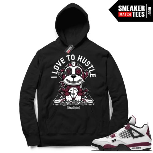 PSG 4s Sneaker Match Hoodie Misunderstood Monkey I Love to Hustle Black