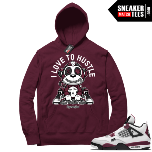 PSG 4s Sneaker Match Hoodie Misunderstood Monkey I Love to Hustle Maroon