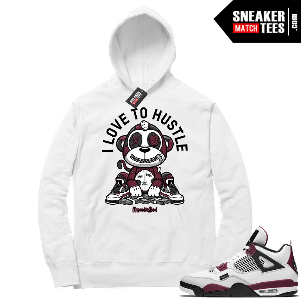 PSG 4s Sneaker Match Hoodie Misunderstood Monkey I Love to Hustle White