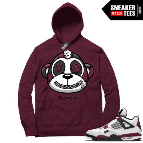 PSG 4s Sneaker Match Hoodie Misunderstood Monkey Maroon
