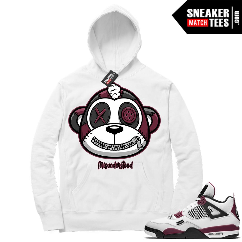 PSG 4s Sneaker Match Hoodie Misunderstood Monkey White