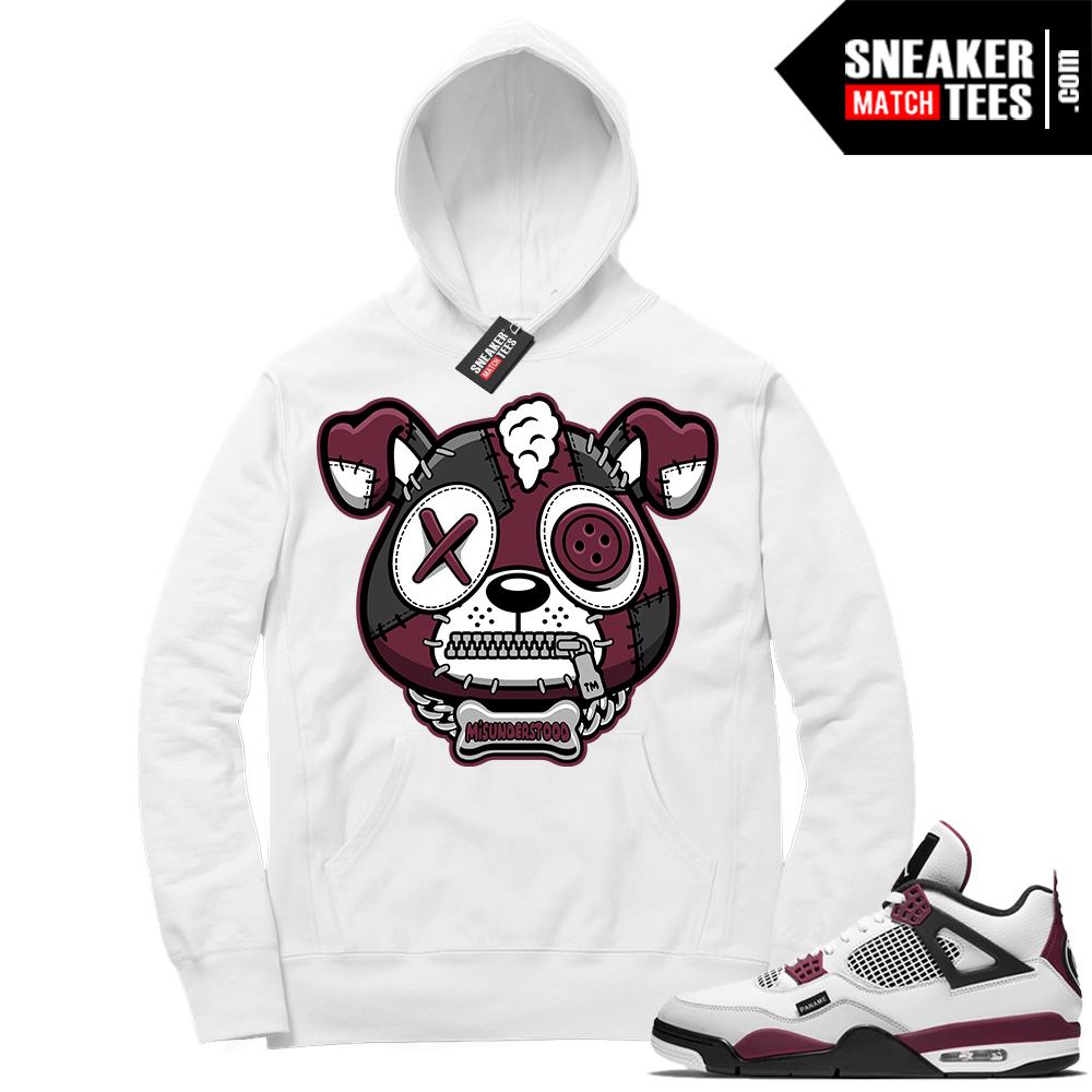 PSG 4s Sneaker Match Hoodie Misunderstood Puppy White