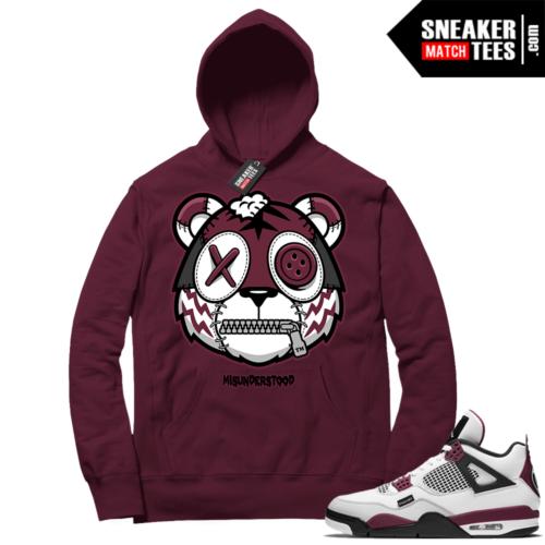 PSG 4s Sneaker Match Hoodie Misunderstood Tiger Maroon