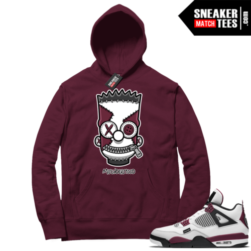 PSG 4s Sneaker Match Hoodie Misunderstood x Bart Maroon