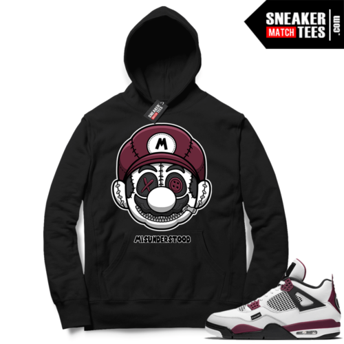PSG 4s Sneaker Match Hoodie Misunderstood x Mario Black