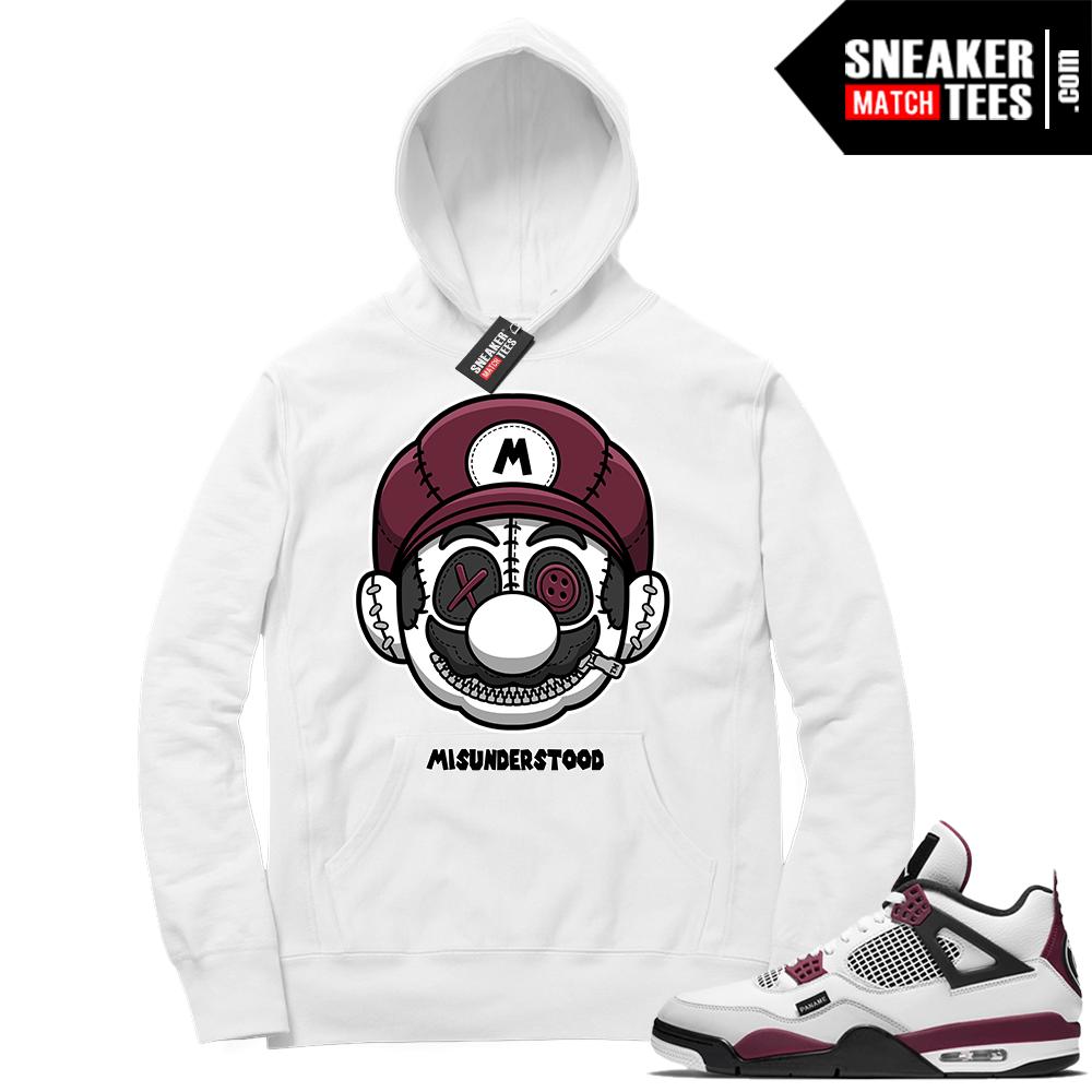 PSG 4s Sneaker Match Hoodie Misunderstood x Mario White