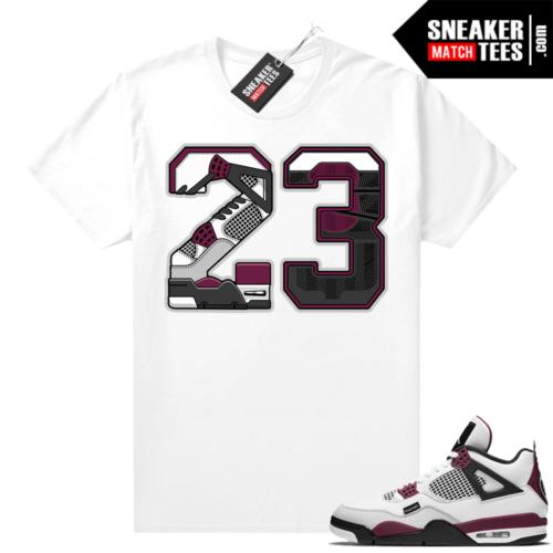 PSG 4s Sneaker Match Tees 23 White