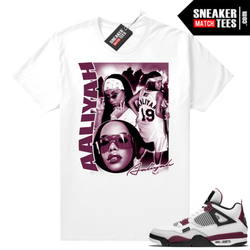 PSG 4s Sneaker Match Tees Aaliyah Vintage White