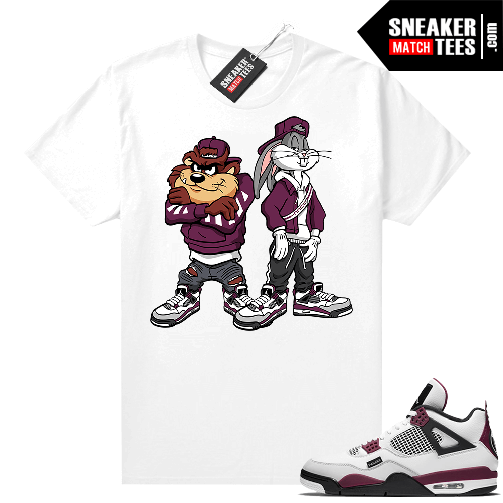 PSG 4s Sneaker Match Tees Bugs and Taz White