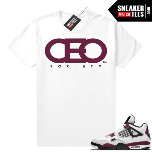 PSG 4s Sneaker Match Tees CEO Society White