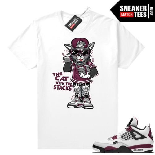 PSG 4s Sneaker Match Tees Cat with the Stacks White